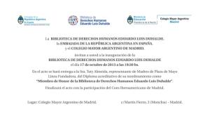 2013 Inauguración Biblioteca DDHH ELD Madrid